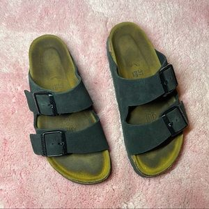 Black Suede Arizona Birkenstock Sandals Size 37